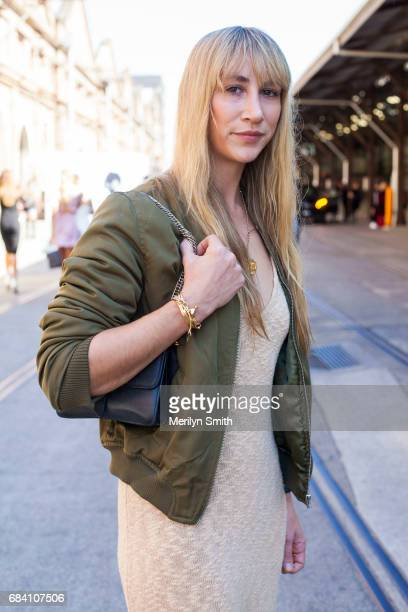 Jewellery Designer Holly Ryan is wearing a Hansen and Gretel dress vintage bomber and Holly Ryan jewellery during MercedesBenz Fashion Week Resort 18...