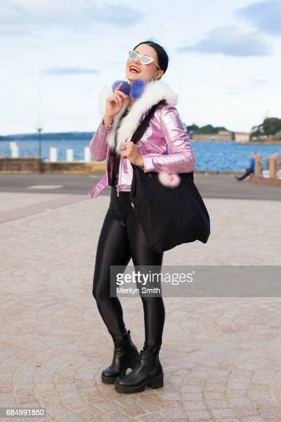 Jewellery Designer Nikita Margarita wearing a Laurel and Hector jacket DIY earrings Le Specs sunglasses American Apparel pants and a Kirsten...