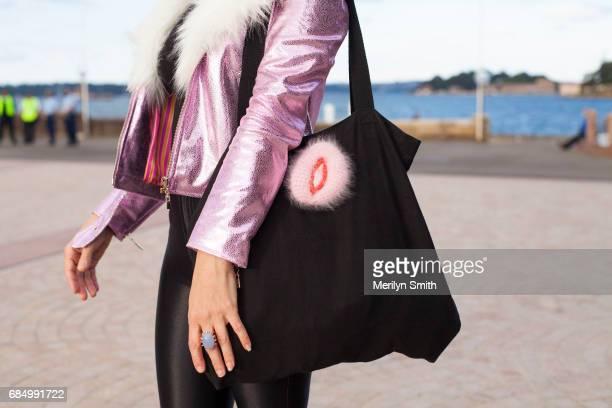 Jewellery Designer Nikita Margarita wearing a Laurel and Hector jacket American Apparel pants and a Kirsten Fredericks broach during MercedesBenz...