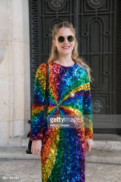 Jewellery designer Venyx Jewellery Eugenie Niarchos wears a Manish Arora dress and a Venyx necklace on day 3 during Paris Fashion Week Autumn/Winter...
