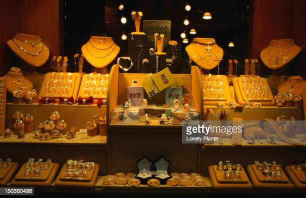 Jewellery displayed on the Via Ottaviano in Rome.