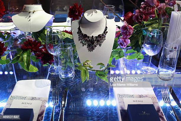 Jewellery is displayed during the Swarovski Winter Gardens Launch at MercedesBenz Fashion Week Australia 2015 at Carriageworks on April 13 2015 in...