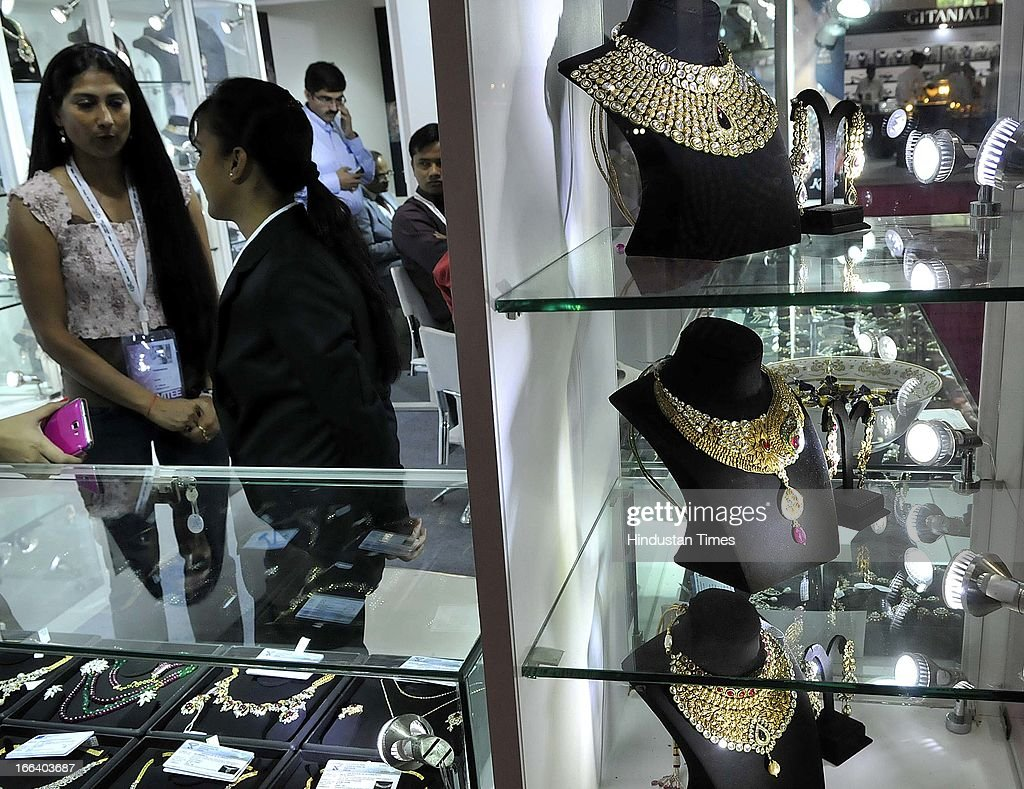 Jewellery showcased in exhibitors stall during the Indian Gem and Jewellery Fair on April 12, 2013 in New Delhi, India. Over 100 jewellers and designers are participating in the IGJF held from 12th - 15th April, 2013. One of the largest market of gold, India imported $39.5 billion of gold in first nine months of last fiscal and exported gold jewellery to the tune of $12.12 billion in the same period.
