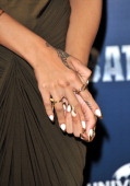 Jewellery worn by Rihanna promoting the film Battleship at Corinthia Hotel London on March 28 2012 in London England