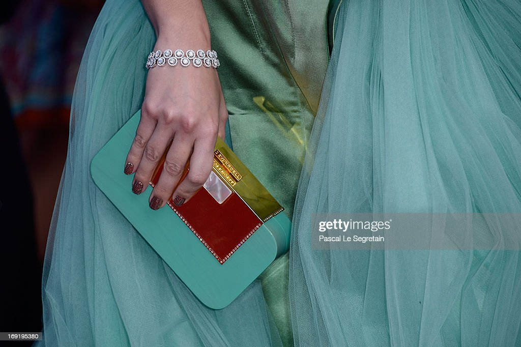 A jewelry and bag details are seen as Araya A. Hargate attends the 'Cleopatra' premiere during The 66th Annual Cannes Film Festival at The 60th Anniversary Theatre on May 21, 2013 in Cannes, France.