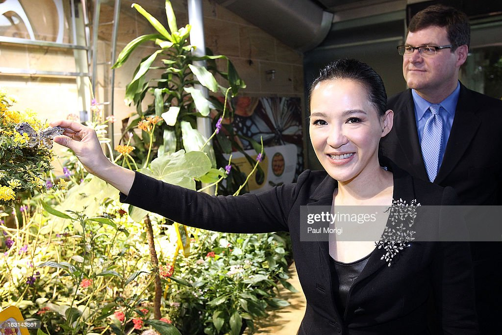 Jewelry artist Cindy Chao holds her Black Label Masterpiece Royal Butterfly Brooch to be accessioned into the Smithsonian's National Museum of Natural History on March 5, 2013 in Washington, DC.