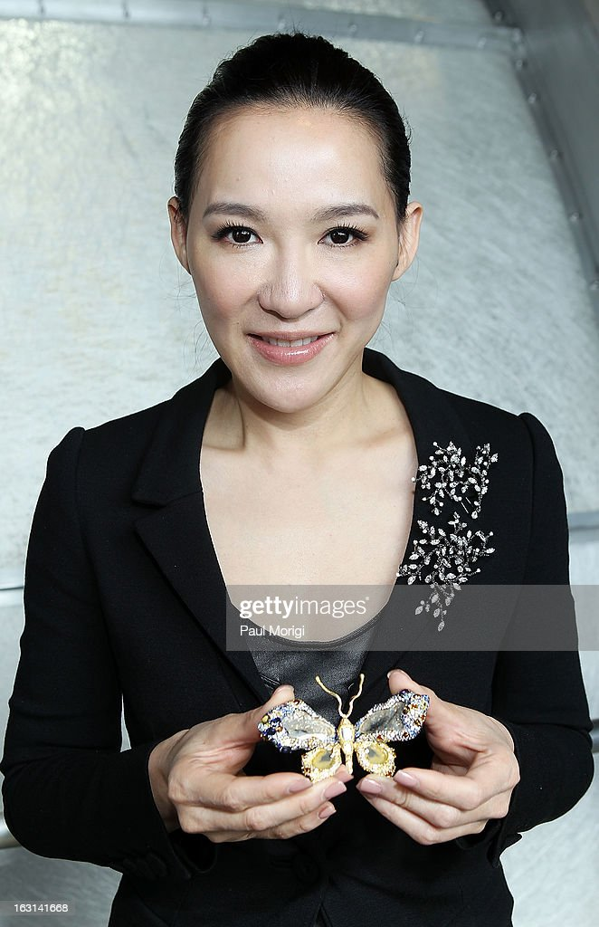 Jewelry artist Cindy Chao presents her Black Label Masterpiece Royal Butterfly Brooch to be accessioned into the Smithsonian's National Museum of Natural History on March 5, 2013 in Washington, DC.