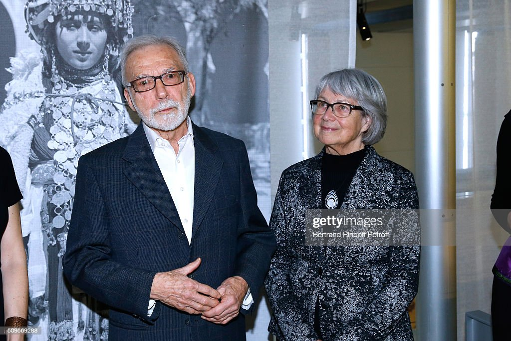 Jewelry Collectors Jean-Francois Bouvier and his wife Malou attend the Opening of the Exhibition 'Tresors à porter', Treasures to wear, presented in the Museum of the 'Institut du Monde Arabe' on February 11, 2016 in Paris, France.