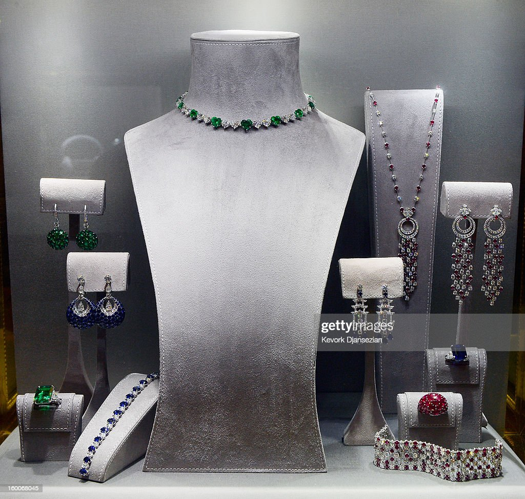 Jewelry created by Graff Diamonds is on display during the 19th Annual Screen Actor Guild Awards ceremony behind the scenes event at The Shrine Auditorium on January 25, 2013 in Los Angeles, California. The famous jewelry maker is a sponsor of the SAG Awards Green Room.