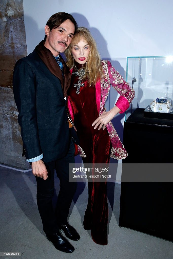 Jewelry Designer Elie Top and Arielle Dombasle pose at the launch of Elie Top first 'Mechanique Celestre' collection at Gallerie Mitterrand on...