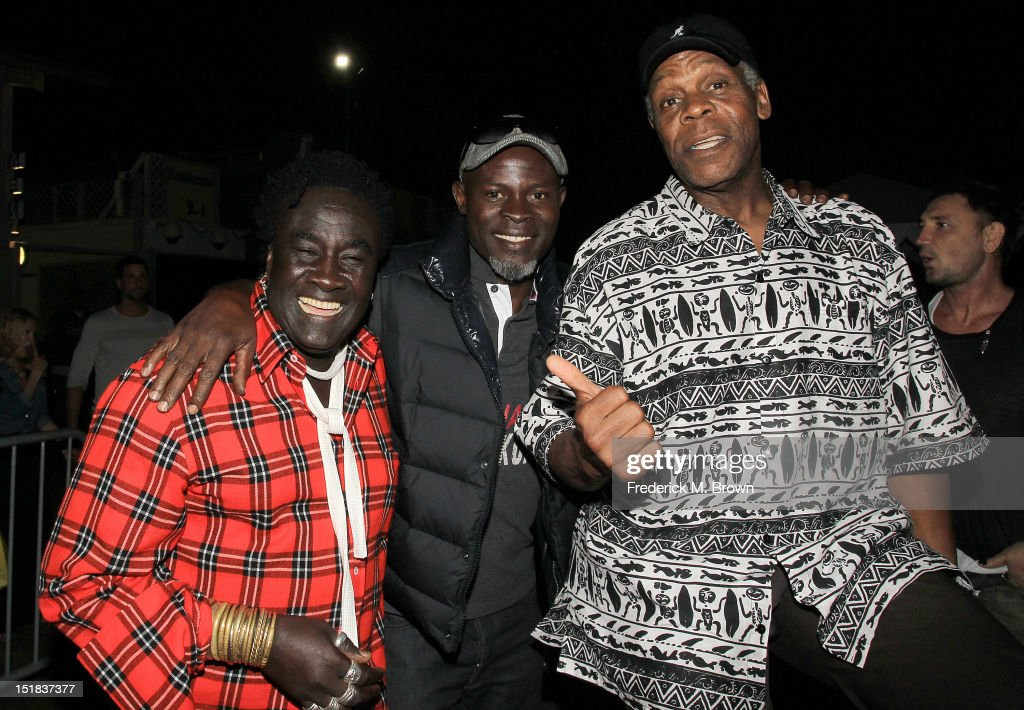 Jewelry designer Moko and actors Djimon Hounsou and Danny Glover attend the Cycle For Heroes benefit hosted by The Heroes Project Equinox and Chrome...