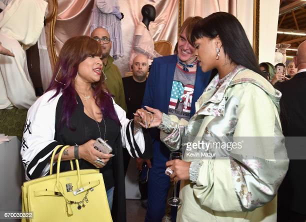 Jewelry designer Simone Smith Neiman Marcus' Ken Downing and Rihanna at the FENTY PUMA by Rihanna Experience on April 18 2017 in Los Angeles...