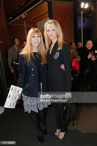 Jewelry designer Victoire de Castellane and Delphine Arnault attend LVMH Prize SemiFinalists Designers Cocktail Party on February 26 2014 in Paris...