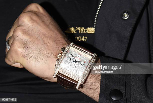 Jewelry Detail Amir Khan attends the Rolling Stone Live Party on their engagement day at San Francisco Design Center on February 6 2016 in San...
