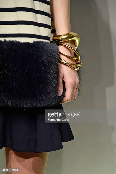 Jewelry detail at the JCrew presentation during MercedesBenz Fashion Week Fall 2015 at The Pavilion at Lincoln Center on February 17 2015 in New York...