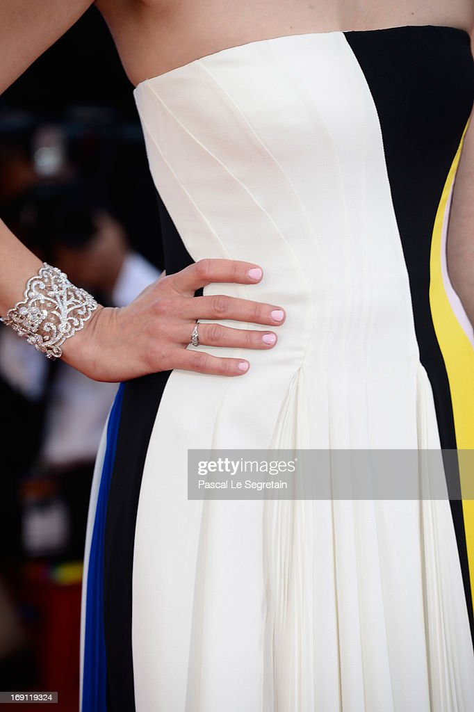 A jewelry detail is seen as Marion Cotillard attends the 'Blood Ties' Premiere during the 66th Annual Cannes Film Festival at the Palais des Festivals on May 20, 2013 in Cannes, France.