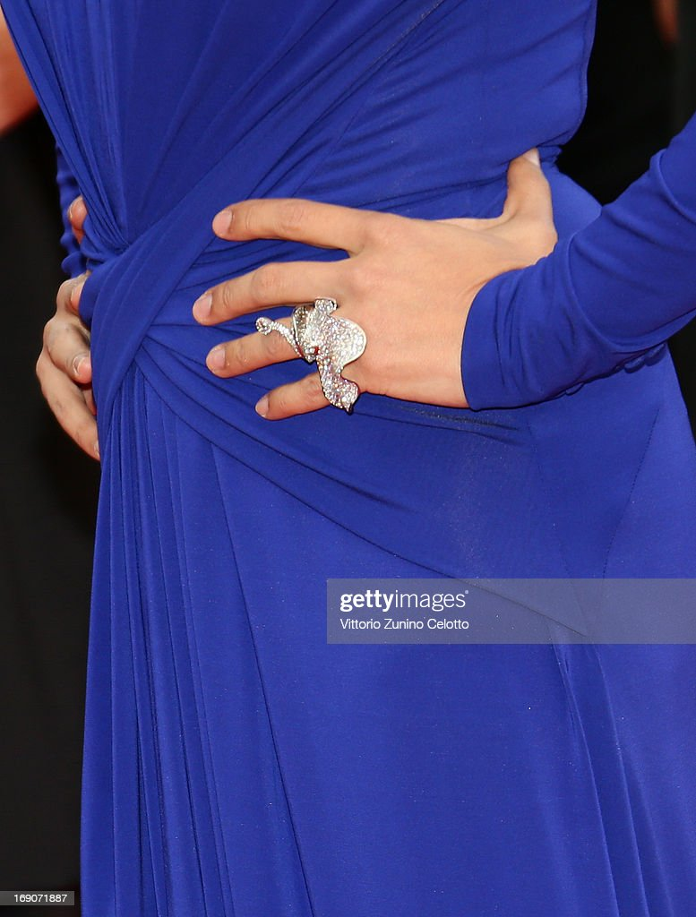 A jewelry detail is seen as Nadine Labaki attends 'Inside Llewyn Davis' Premiere during the 66th Annual Cannes Film Festival at Palais des Festivals on May 19, 2013 in Cannes, France.