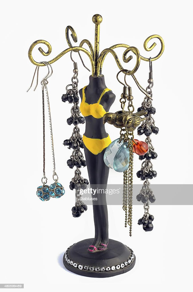 jewelry holder and earrings : Stock Photo