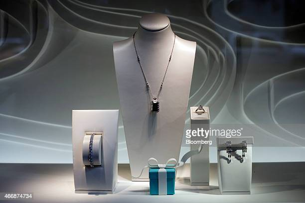 Jewelry is displayed in the window of a Tiffany Co store on Fifth Avenue in New York US on Wednesday March 18 2015 Tiffany is scheduled to report...