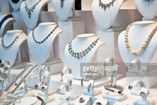 Jewelry on window display