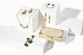 Jewelry set isolated on white boxes ( with clipping path)