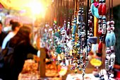 A jewelry stall at a night market in Nanjing, China, displaying hand-made local ethnic jewelry.
