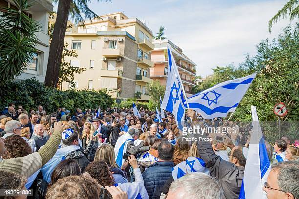 Jewish community bring their flags and shout slogans during a stage protest against the media attacks that just stir up hatred towards Israel