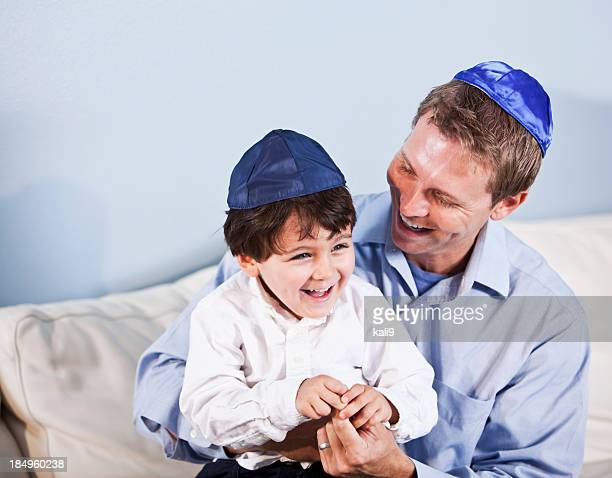 Jewish father and little boy laughing