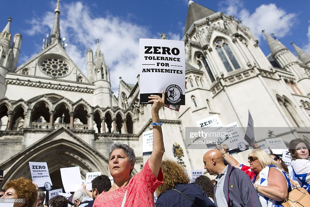 Jewish groups protest outside the Royal Courts of Justice in London on August 31 as they call for 'Zero Tolerance for AntiSemitism' Jewish groups...