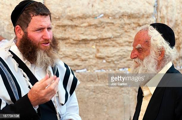 Jewish men at the Western Wall in Jerusalem