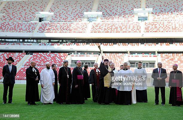Jewish Muslim and Christian clergymen participate in the blessing of Poland's new national stadium in Warsaw on May 10 2012 ahead of the EURO 2012...