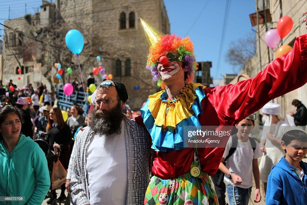 Jewish people are seen during Purim Festival a Jewish holiday that commemorates the deliverance of the Jewish people in the ancient Persian Empire...
