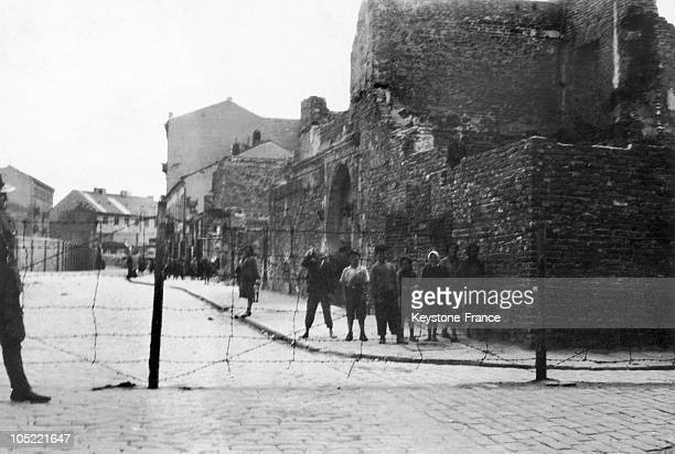 Jewish Population From Warsaw Ghetto Behind Barbed Wires From 1940 To 1943