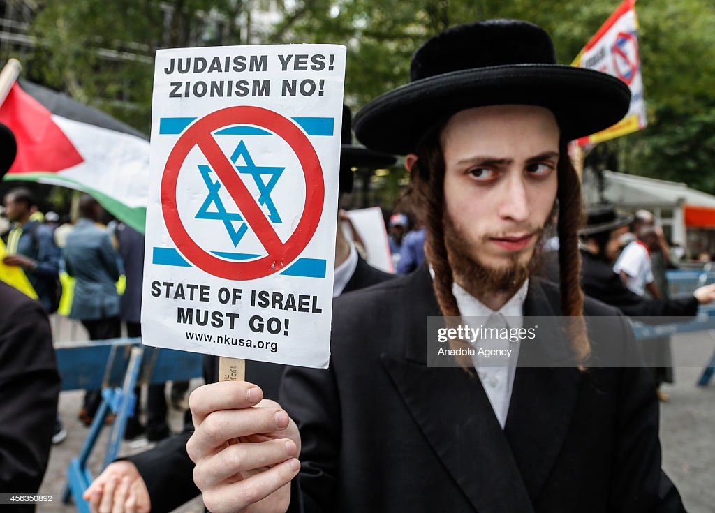 A Jewish protests Israel and PM of Israel Benjamin Netanyahu at a park across United Nations Headquarter as Netanyahu speaks at United Nations General Council, in New York, United States on 29 September, 2014.