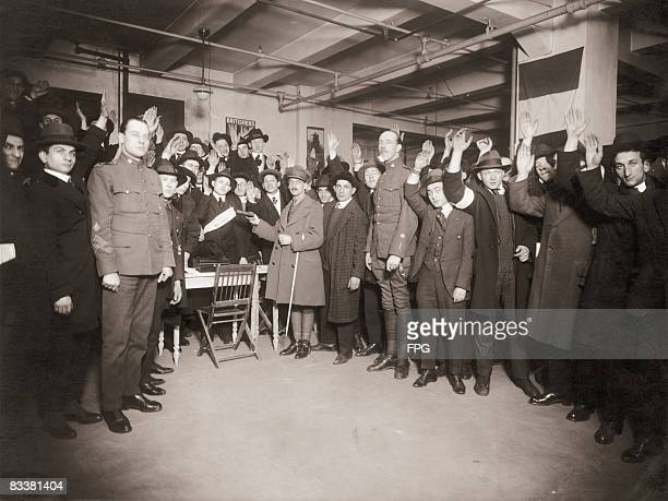 100 Jewish recruits are sworn into the British Army during World War I circa 1917 After the war they will serve in Palestine as part of the Zionist...