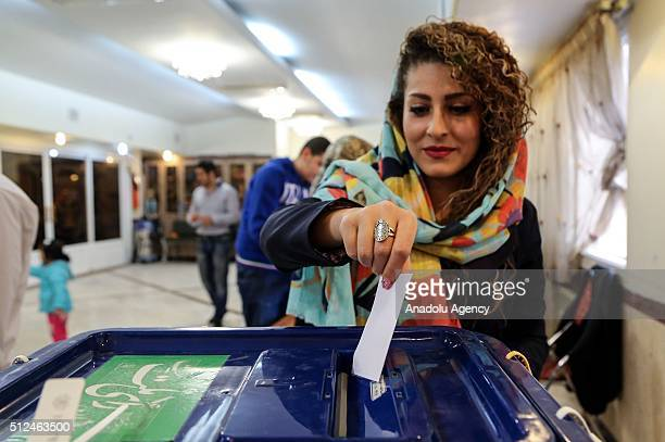 Jewish woman casts her vote at the Yusef Abad Synagogue during the 10th term Parliamentary and 5th term Assembly Elections in Tehran Iran on February...