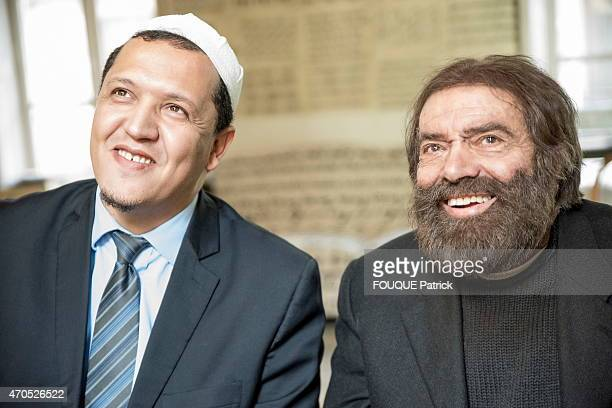 Jewish writer Marek Halter and muslim Hassen Chalghoumi iman of the mosque of Drancy at Marek Halter's home in Paris on February 11 2015 the...