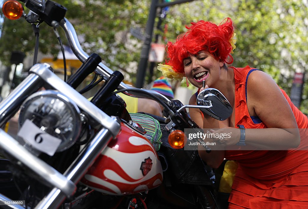 Jewlia Eisenberg fixes her makeup before the start of the 2016 San Francisco Pride Parade on June 26, 2016 in San Francisco, California. Hundreds of thousands of people came out to watch the annual San Francisco Pride parade, one of the largest in the world.