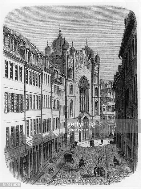 Jewry Historic depictions Main synagogue in Frankfurt / Main wood engraving around 1860
