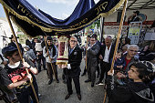 Jews dance their way through the streets holding a newly dedicated Torah scroll in the Chabad Synagogue on May 7 2015 in Berlin Germany The ceremony...