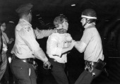 Jews demonstrate at the Lebanese consulate New York New York September 6 1972 Police drag a demonstrator away after they tried to block the...