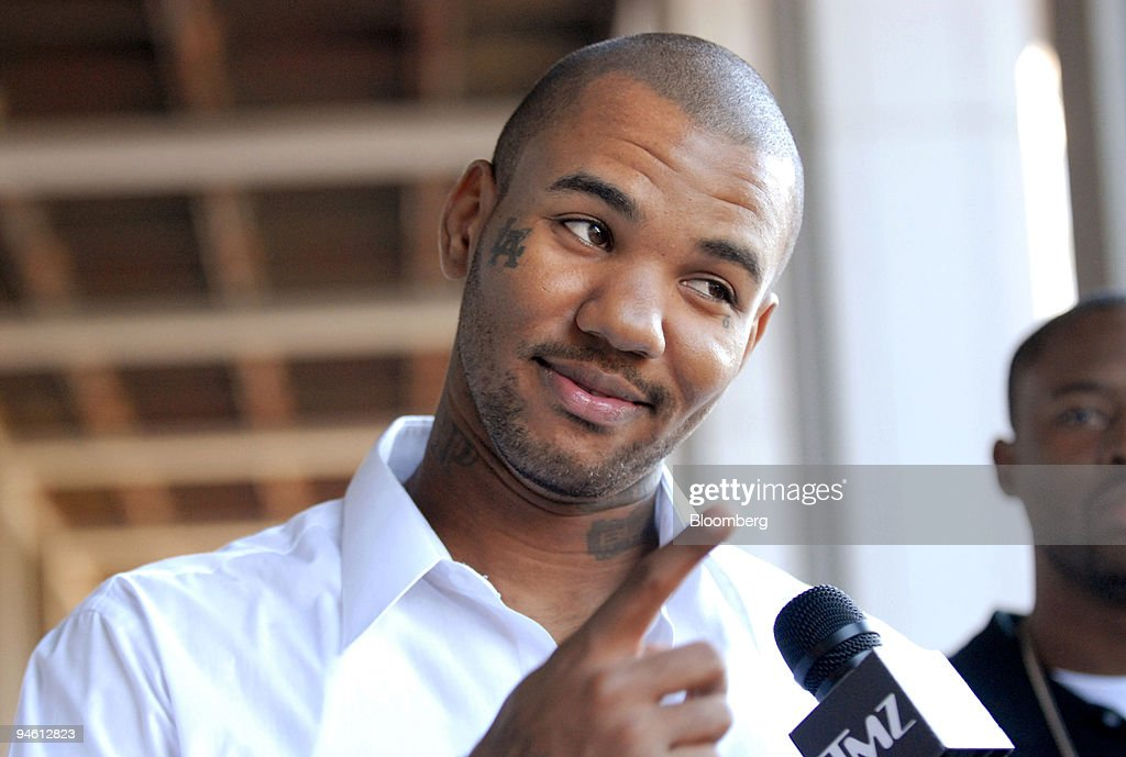 Jeyceon Taylor a hiphop artist better known by his stage name 'The Game' speaks to reporters outside Los Angeles Superior Court in Los Angeles...