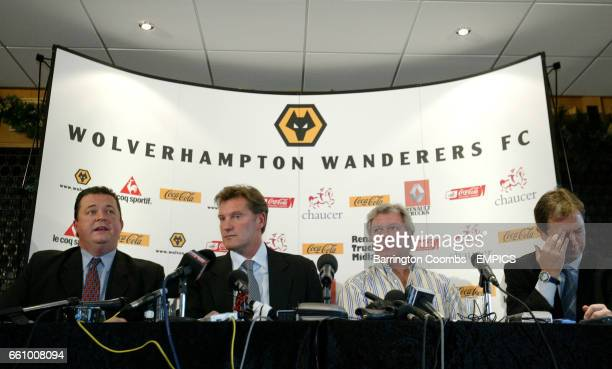 Jez Moxey Glenn Hoddle Rick Hayward and Stuart Gray during the press conference