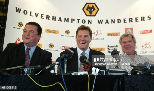 Jez Moxey Glenn Hoddle Rick Hayward share a joke with the media during the press conference