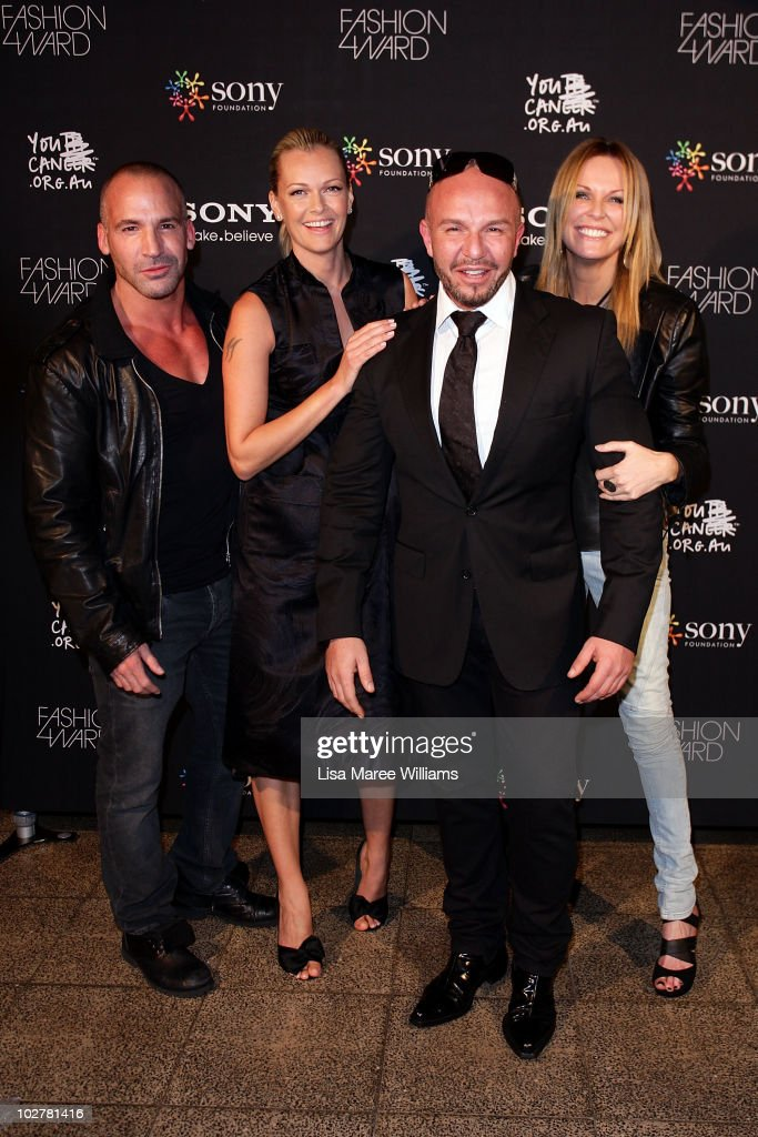 Jez Smith Sarah Murdoch Alex Perry and Charlotte Dawson arrives at the Sony Foundation's Fashion4Ward launch at the Blue Hotel on July 10 2010 in...