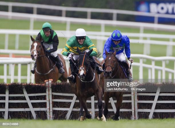 Jezki ridden by Tony McCoy wins the The Racing Post Champion Hurdle ahead of Hurricane Fly ridden by Ruby Walsh during day four of the Punchestown...