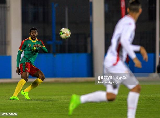 JFrank Zambo of Cameroon in action during the friendly football match between Tunisia and Cameroon at the Ben Jannet stadium in Monastir Tunisia on...