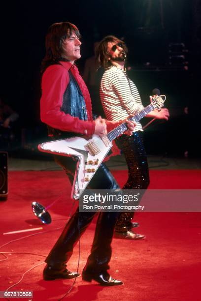 Geils and Peter Wolf of the JGeils Band perfom at the Boston Garden on February 9 1979 in Boston Massachusetts