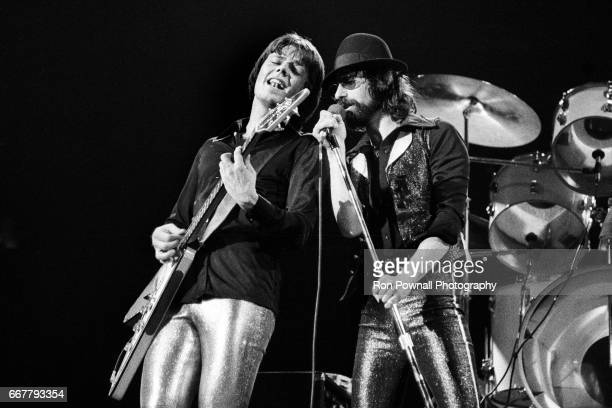 Geils and Peter Wolf of the JGeils Band perfom at the Providence Civic Center in January 1974 in Providence Rhode Island
