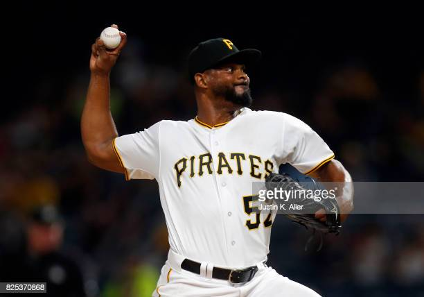 Jhan Marinez of the Pittsburgh Pirates pitches in the ninth inning against the Cincinnati Reds at PNC Park on August 1 2017 in Pittsburgh Pennsylvania